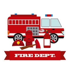 firefighter label design vector image