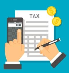 Flat design tax calculation vector image