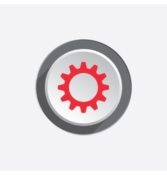 Gear icon Cogwheel symbol Red sign on round vector image vector image