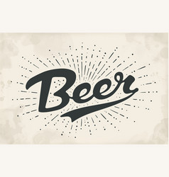 Hand drawn lettering beer vector