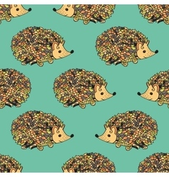 Hedgehog seamless pattern vector image vector image