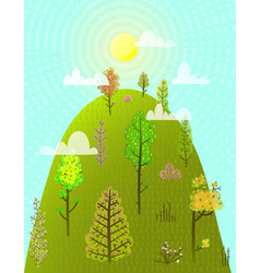 Hill or mountain summer with trees forest vector