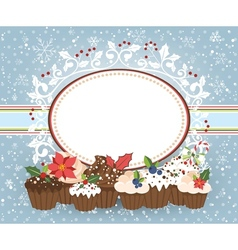 Holiday card with Christmass muffins vector image vector image