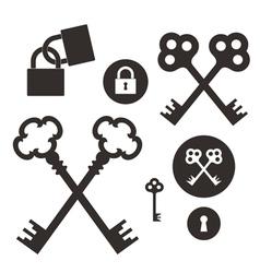 Key lock icon set vector
