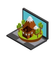 Laptop house mountain trees icon isometric design vector