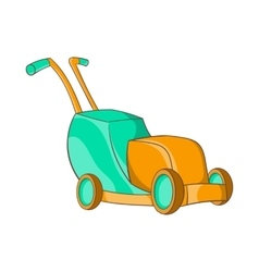 Lawnmower icon in cartoon style vector
