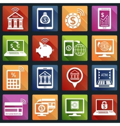 Mobile banking icons white vector image vector image