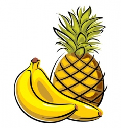 Pineapple and bananas vector