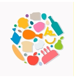 Quality Food icons Flat style logo vector image