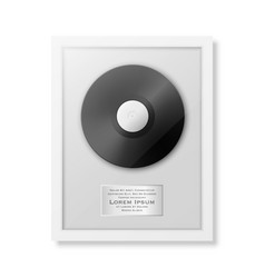 Realistic lp and label in glossy white vector