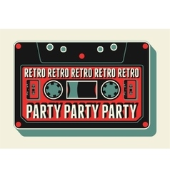 Retro Party poster design with an audio cassette vector image vector image