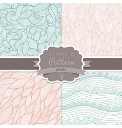 seamless wave hand-drawn pattern waves background vector image