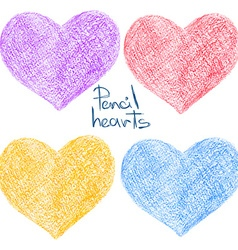 Set of colorful pencil drawing heart shapes vector