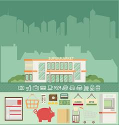 Supermarket online website concept with food vector