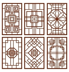 Traditional korean door and window ornament vector