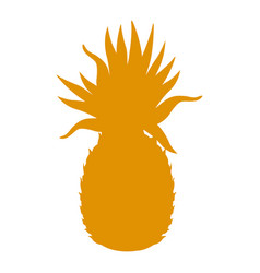 Yellow silhouette pineapple fruit tropical food vector