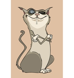 Cartoon winking funny cat is crossing her paws vector