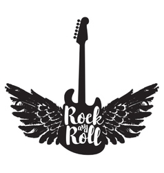 Guitar and the words rock and roll vector