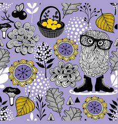 seamless pattern of forest life vector image