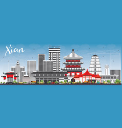 Xian skyline with gray buildings and blue sky vector