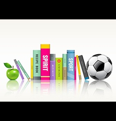 Row of colorful books soccer ball and green apple vector image