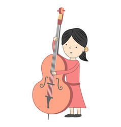 Girl playing violoncello isolated on white vector