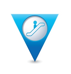 escalator icon map pointer3 blue vector image