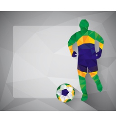 Brazilian football player with ball in triangles vector image