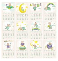 Baby bear calendar 2015 vector