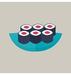 Six sushi rolls with tuna plate vector