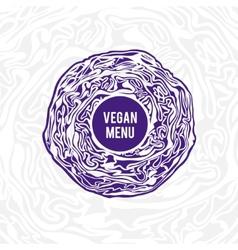 Vegan menu design violet cabbage vector