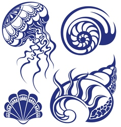 Set of jellyfish and various sea shells vector
