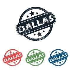 Round dallas city stamp set vector