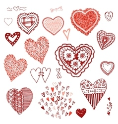 Doodle set of heartsheart of confetti knitted vector