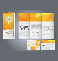Template design three fold flyer brochure vector