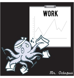 Octopus emotion work busy vector