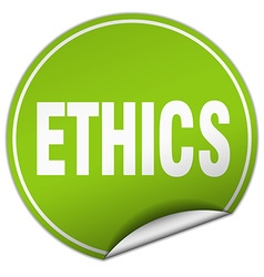 Ethics round green sticker isolated on white vector