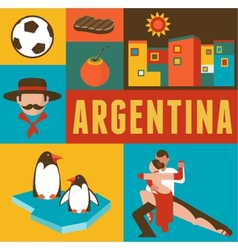 Argentina poster and background with set of icons vector image vector image