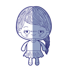 Blue shading silhouette of kawaii cute little girl vector
