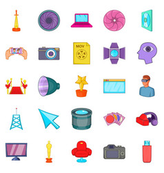 Camera for movies icons set cartoon style vector