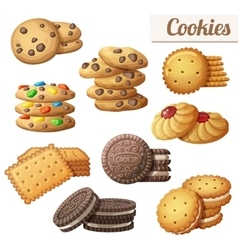 Cookies Set of cartoon food icons isolated vector image
