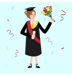 Graduation female woman holding bouquet flower vector
