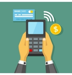 Hands holding credit card and pay terminal vector