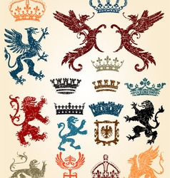 heraldry set and retro background vector image vector image