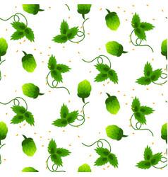 Hop plant green seamless pattern vector