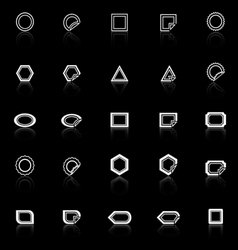 Label line icons with reflect on black background vector