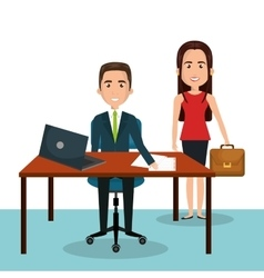 man and woman cartoon workplace work epmloyee vector image