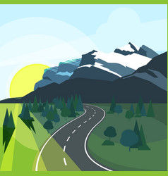 panoramic summer landscape with environment and vector image