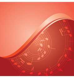 red background - curved music notes vector image vector image