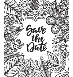 Save the date card with hand drawn flowers leaves vector